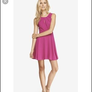 Express pink fit and flare keyhole dress
